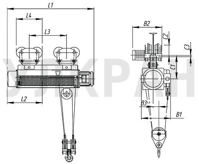 Схема электрического тельфера 2,0 т (полиспаст 4/1) .